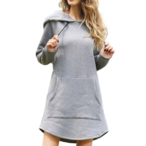 Women's solid color hooded sweatshirt casual sweater dress Gray,3XL