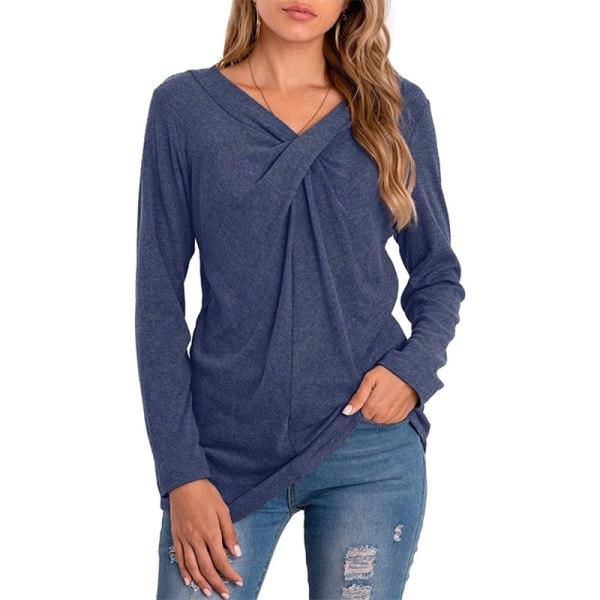 Women's solid color loose long-sleeved V-neck top T-shirt blue,XL