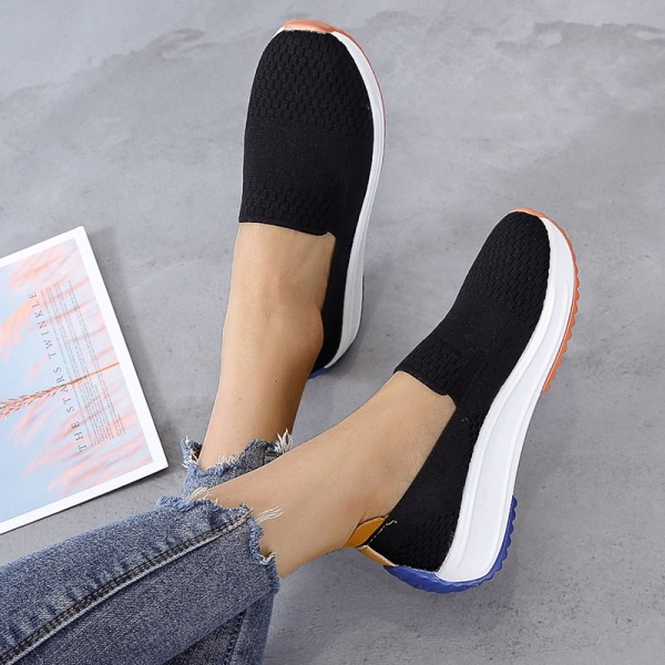 Women's Solid Color Low Tube Sneakers Breathable Sports Shoes Black,42