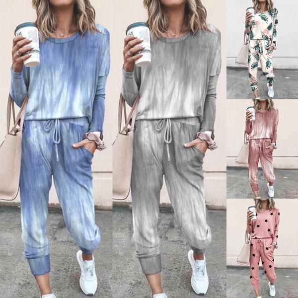 Women'S Sportswear Suit Long-Sleeved Top + Trousers Casual Wear Pink,3XL
