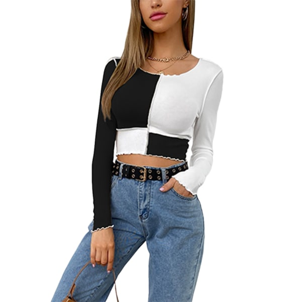 Women's stitching round neck long-sleeved casual shirt top Black,L