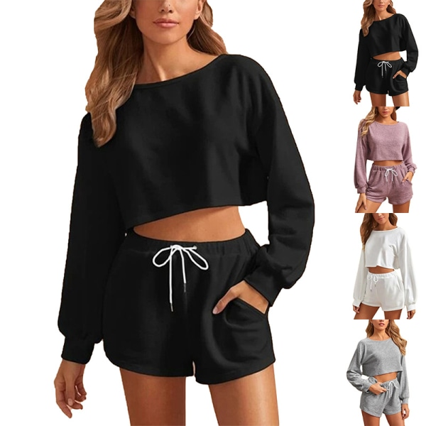 Women'S Suit Long-Sleeved Cropped Top + Drawstring Shorts Sports Black ,L