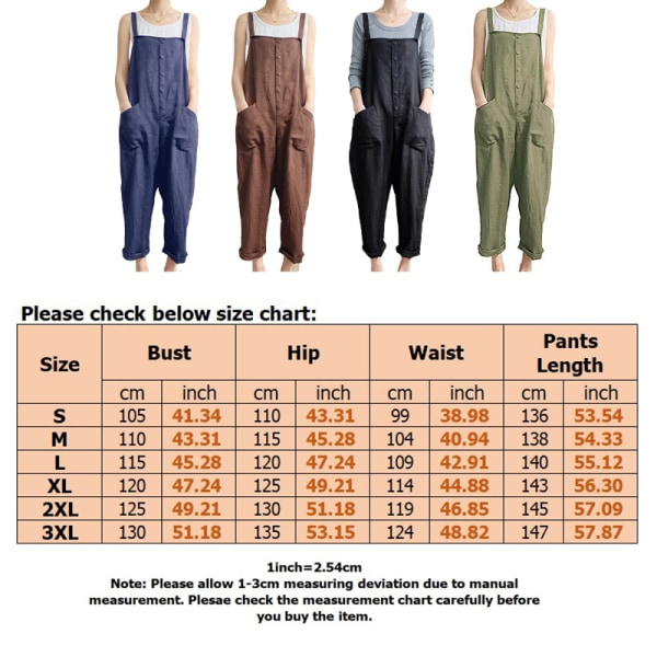 Women'S Summer Big Pocket Buttons Solid Color Rompers Overalls Coffee Color,M