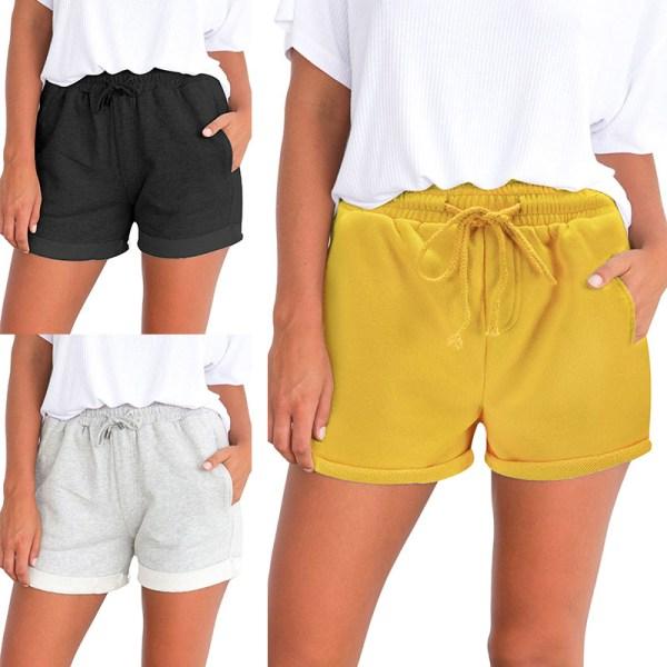 Women's Summer Elastic Waist Shorts Baggy Shorts Casual Pants Black,L
