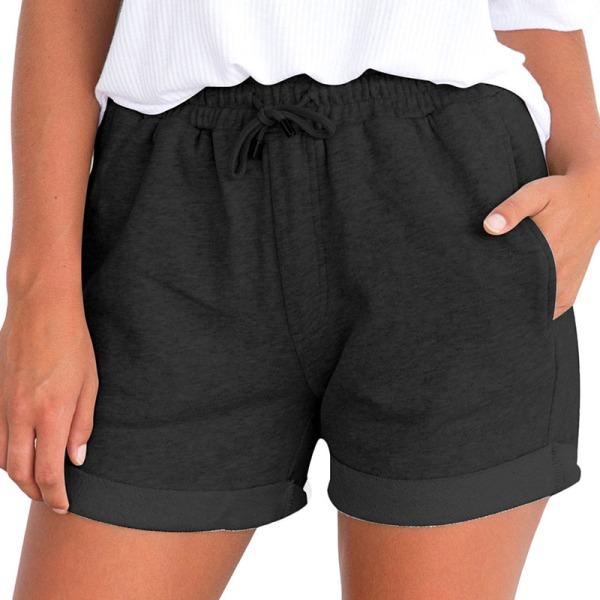 Women's Summer Elastic Waist Shorts Baggy Shorts Casual Pants Black,S