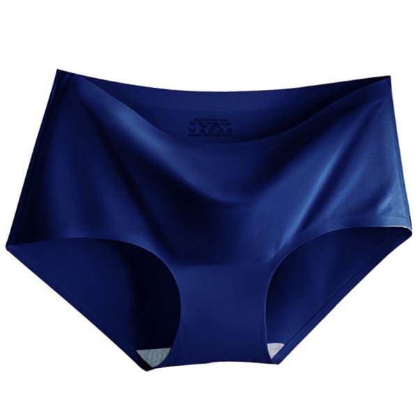 Women Soft Underwear Seamless Ice Silk Fashionable Panties Royal Blue,M