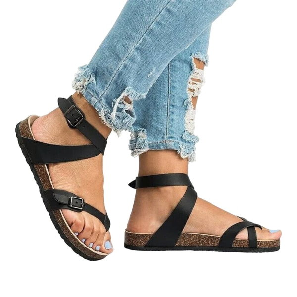 Women's Thong Sandals Fashion Open Toe Slippers Casual Shoes Black,38