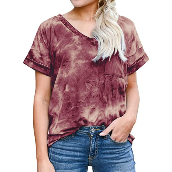 Women's V-neck Top Short Sleeve Casual T-shirt Loose T-shirt dark red,XXL