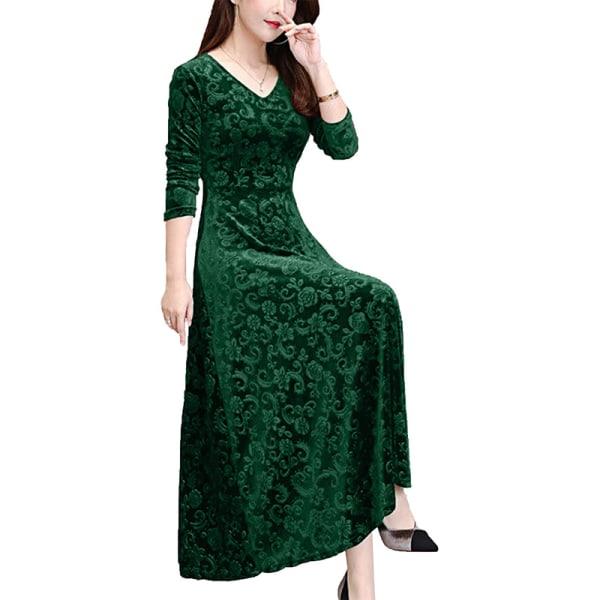 Women's Velvet V-neck Long Dress Evening Prom Dress dark green,L