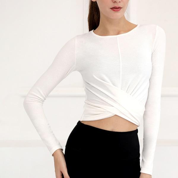 Women's Yoga Long Sleeve T-Shirt Running Fitness Sportswear White,M