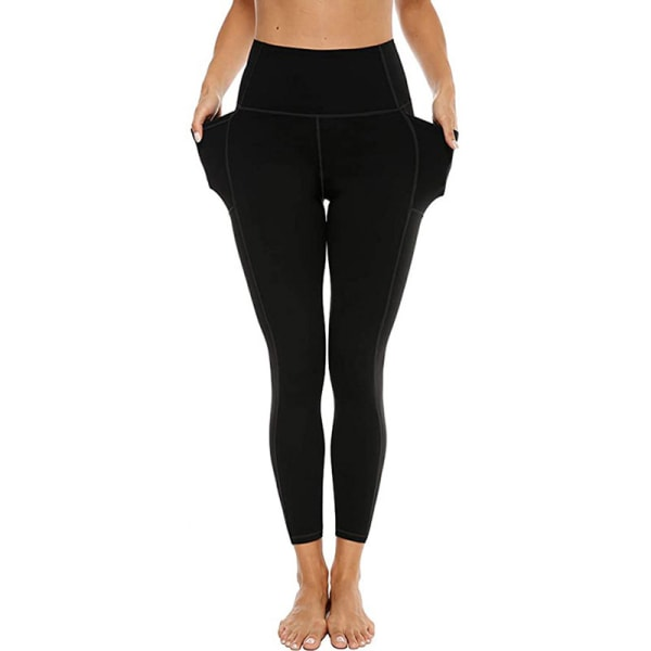 Women's yoga pants high waist pocket leggings gym sweatpants Black,XS