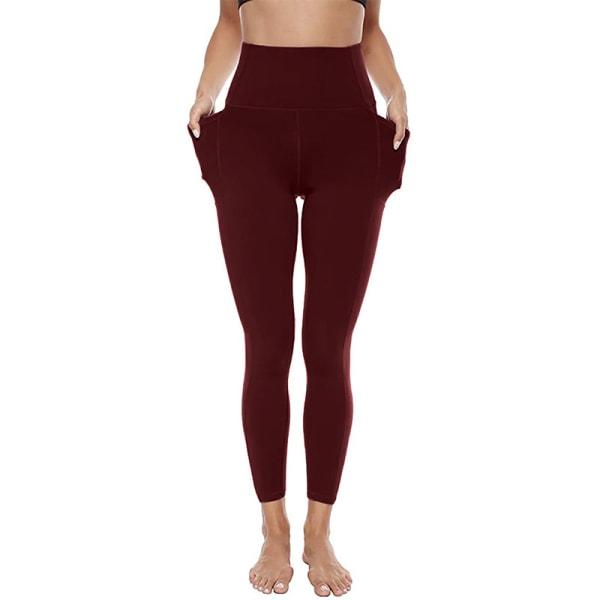 Women's yoga pants high waist pocket leggings gym sweatpants Red Wine,M
