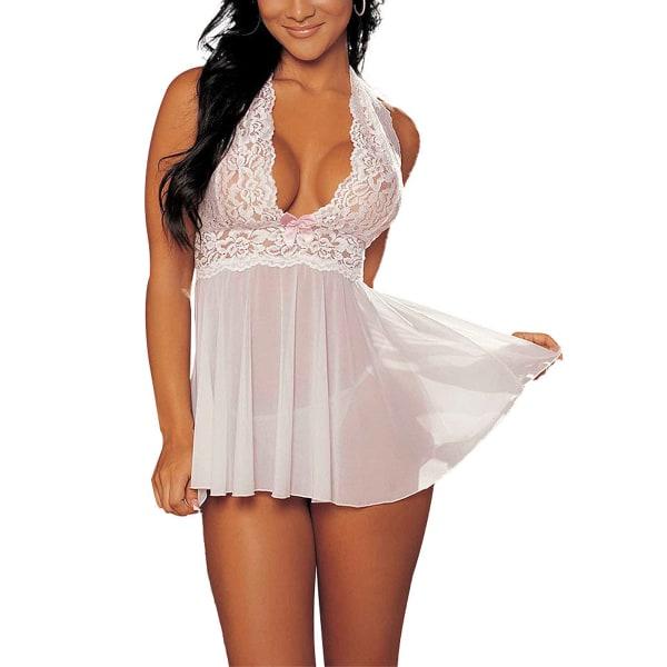Women Sexy Lingerie Lace Nightdress Lotus Leaf Open Back Dress White,XXL
