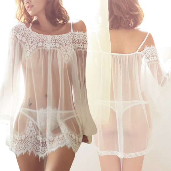 Women Sexy Lingerie Tulle Sexy Suit Lace Tulle Dress White,L