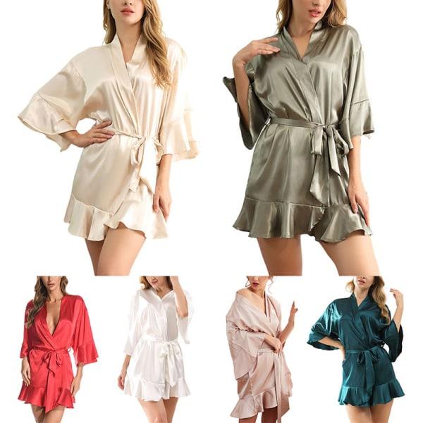 Women Sexy Ruffles Silk Sleeping Gown Lingerie Dressing Bathrobe White,XL