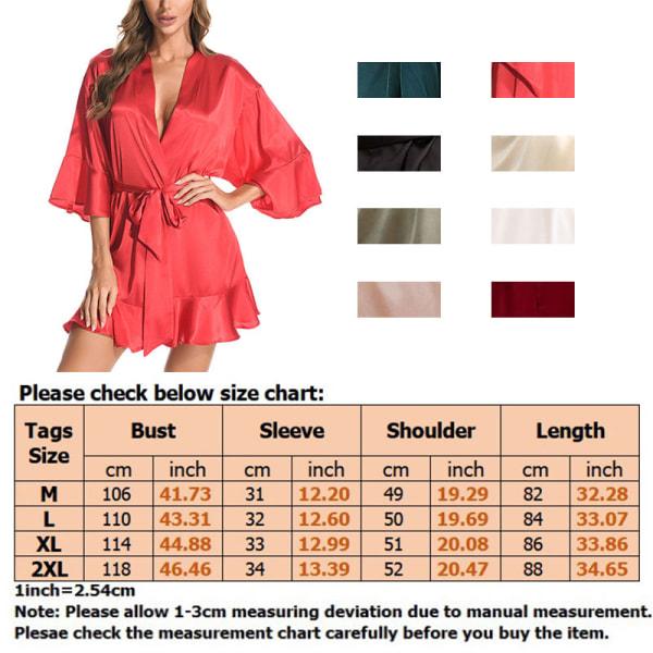 Women Sexy Ruffles Silk Sleeping Gown Lingerie Dressing Bathrobe Red Wine,XL