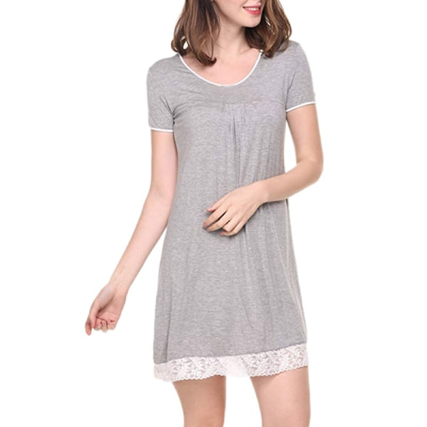 Women Sexy Sleep Dress Casual Lace Pajamas Round-Neck Nightdress Gray,L