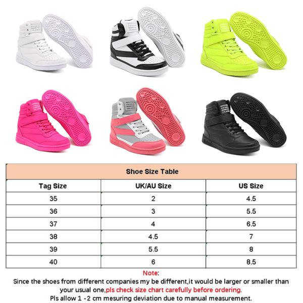 Women Sneaker Casual Sport Walking Shoe Athletic Height Increase Fluorescent Green,36