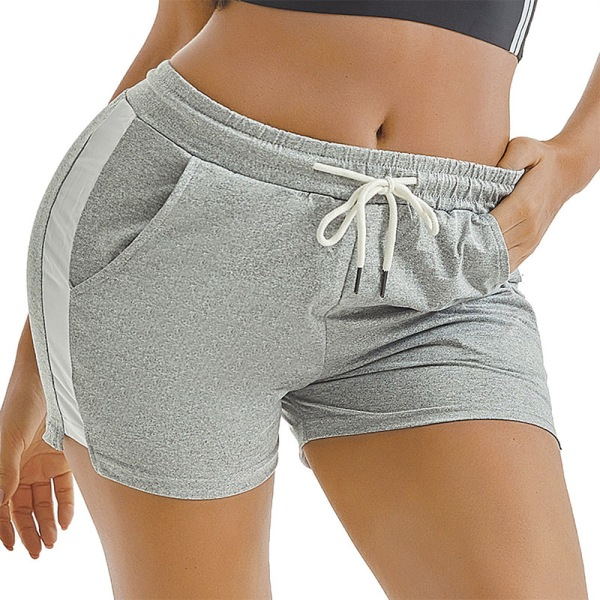 Women Sports Yoga Shorts  Beach Hot Pants Trunks Drawstring Grey,S
