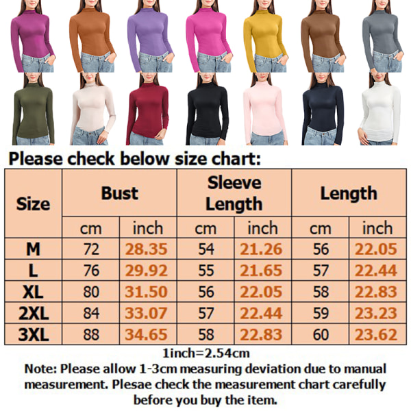 Women stretch long-sleeved top high neck pullover T-shirt Top Black,M