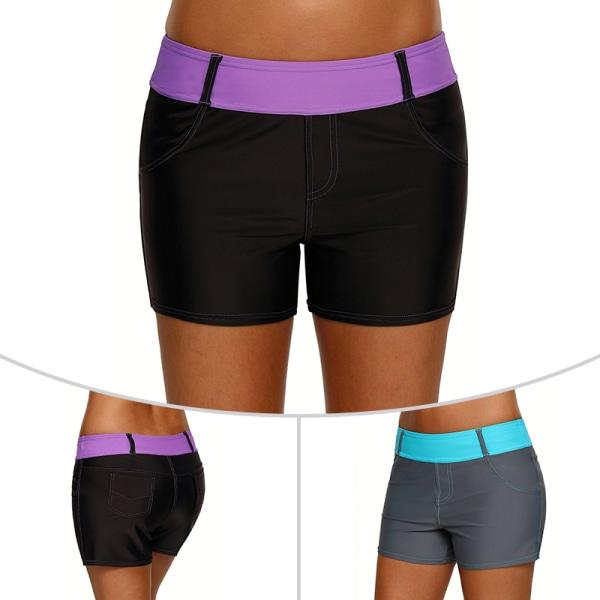 Women Swimming Trunks Yoga Shorts Tankini Bottoms Sweatpants Purple,S