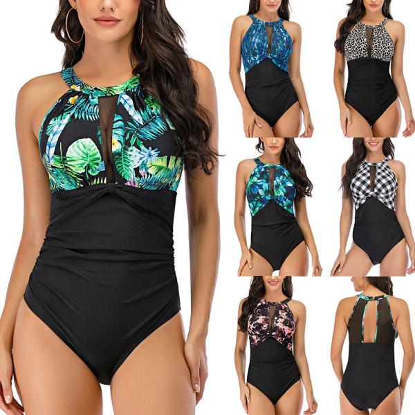 Women Swimwear Padded Monokini Backless One Piece Bathing Suit Dark Blue,L