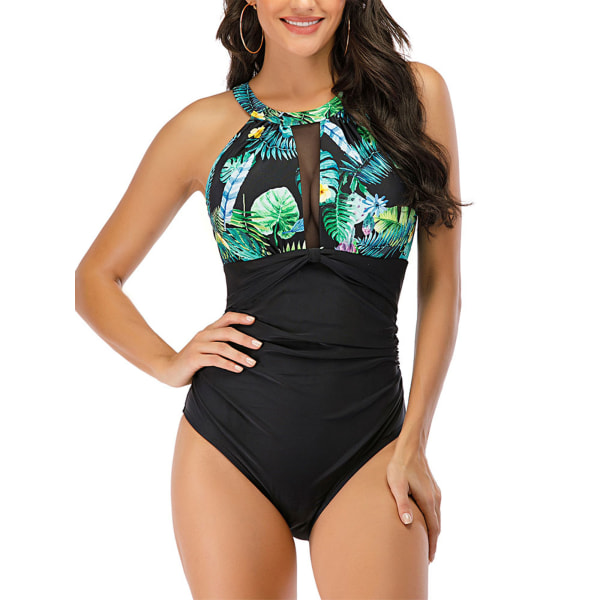 Women Swimwear Padded Monokini Backless One Piece Bathing Suit Green,XXL