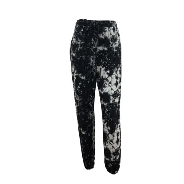 Women Tie Dye Mid Waist Yoga Pants Casual Sport Stretch Black,M