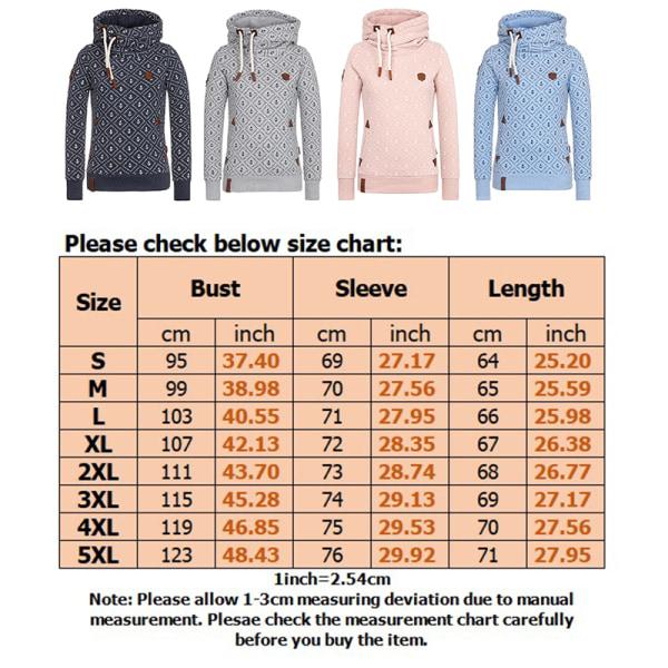Women Turtleneck Hooded Sweatshirt Printed Winter Warm Top Navy blue,XL