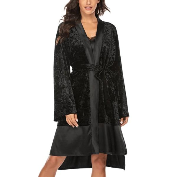 Women Velvet Splicing Cardigan Long Sleep Robe Sleepwear Pajamas Black,L