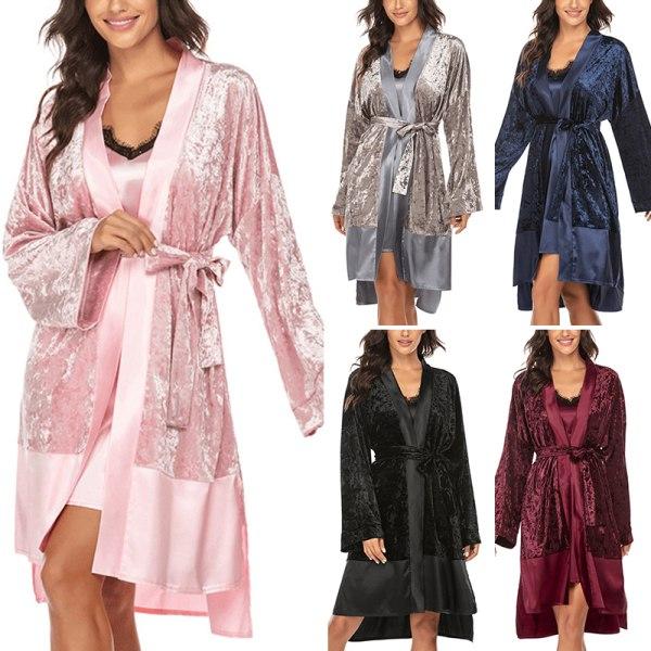 Women Velvet Splicing Cardigan Long Sleep Robe Sleepwear Pajamas Pink,XXL