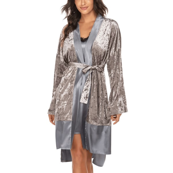 Women Velvet Splicing Cardigan Long Sleep Robe Sleepwear Pajamas Gray,M
