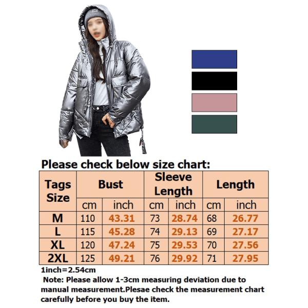 Women warm cotton jacket shiny PU coat faux fur hooded jacket green,XL