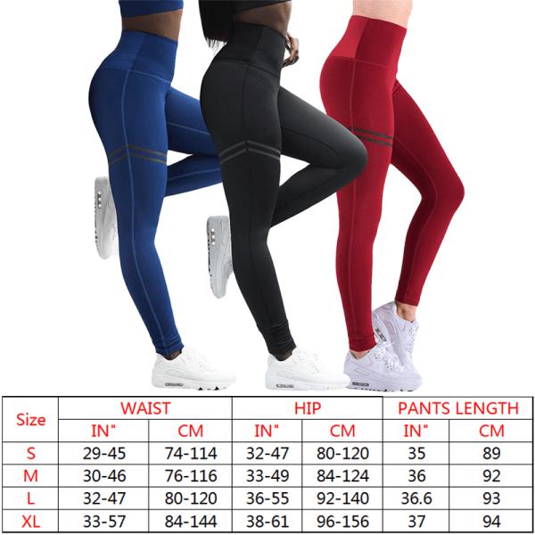 Women Yoga Sports Pants Fitness Gym High Waist Leggings Trousers Black,M