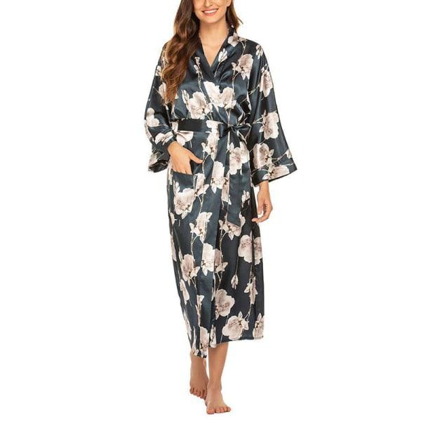 Womens Floral Satin Silk Sleepwear Long Robe Bride Dressing Gown Blue Green Bottom White Flowers,XXL