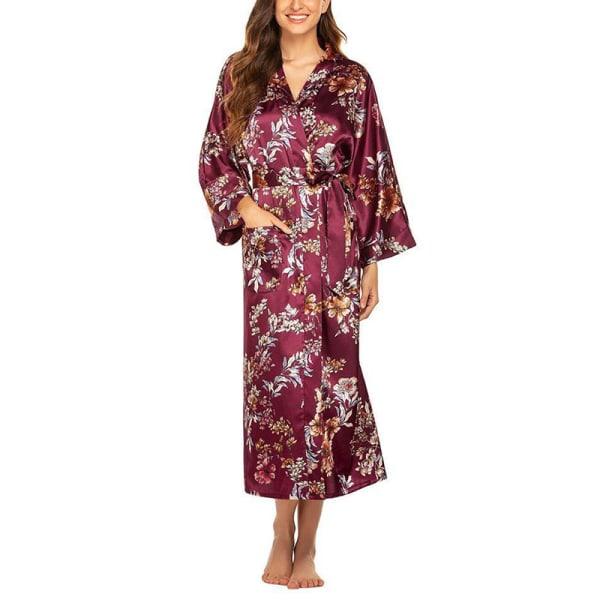 Womens Floral Satin Silk Sleepwear Long Robe Bride Dressing Gown Pink Flowers Red Bottom,S