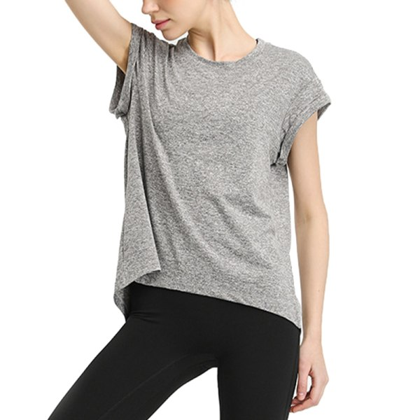 Womens Yoga T-shirt Top Short Sleeve Top Shirt Quick Dry Clothes light grey,XL