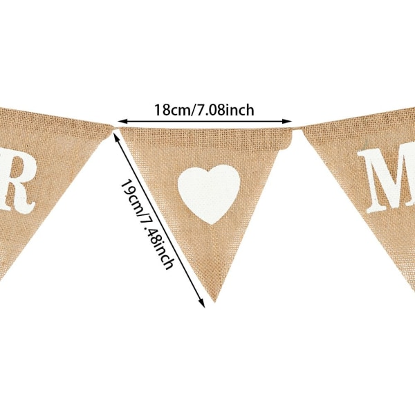 Burlap Banner Bröllopsdekoration MR MRS MR MRS