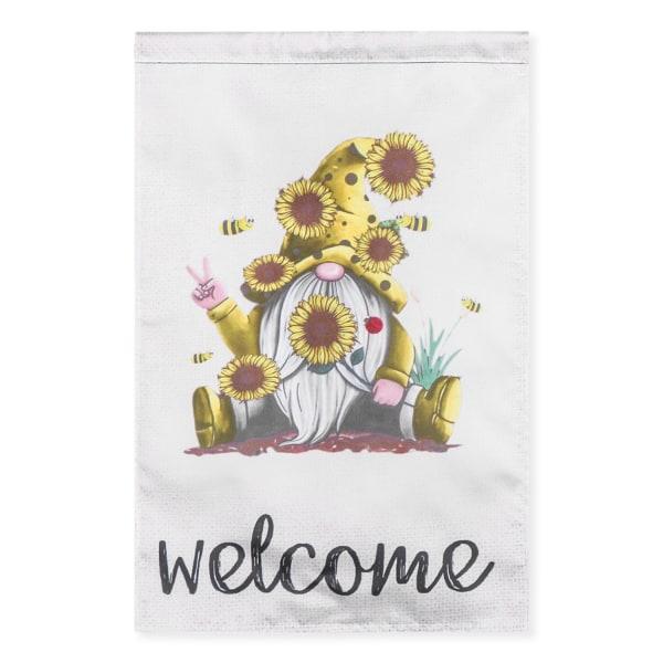 Välkommen sommar trädgård Flagg Bee Gnomes Flag 1 1