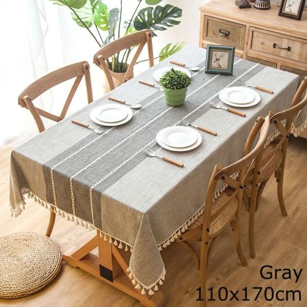Linne bordsduk bordsskiva tofsade kanter GRÅ 110X170CM