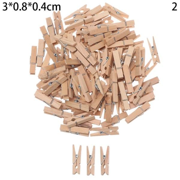 100st träklämmor klädnypor tall träklädnypa 3X0.8CM 2