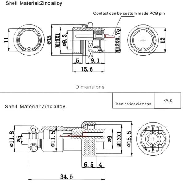 1Pair Aviation Socket Plug GX12 Male & Female 6 PIN