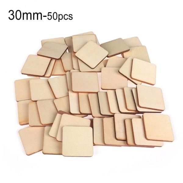 10/50/100 st Fyrkantiga träbitar Trätaggar Tom plack