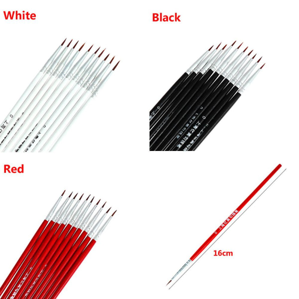 10 / 20st målarborste kroklinje penna 10 ST SVART L.