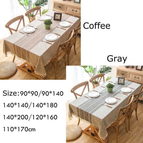 Linne bordsduk bordsskiva tofsade kanter COFFEE 120X160CM