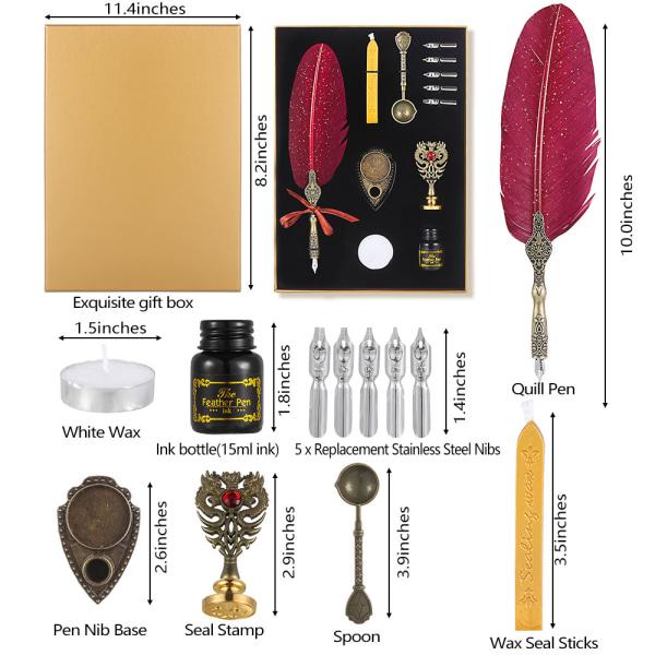 Wax Seal Stamp Kit Feather Quill Pen och bläckuppsättning VIT