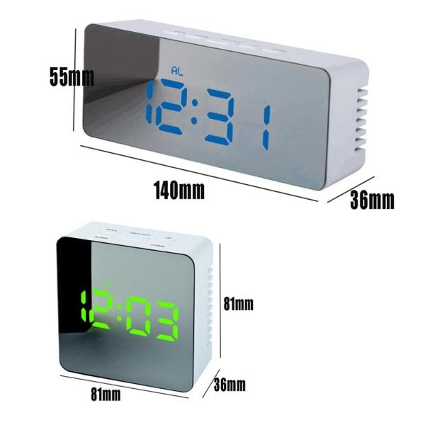 Spegelväckarklocka Digital termometer LED nattlampa 4