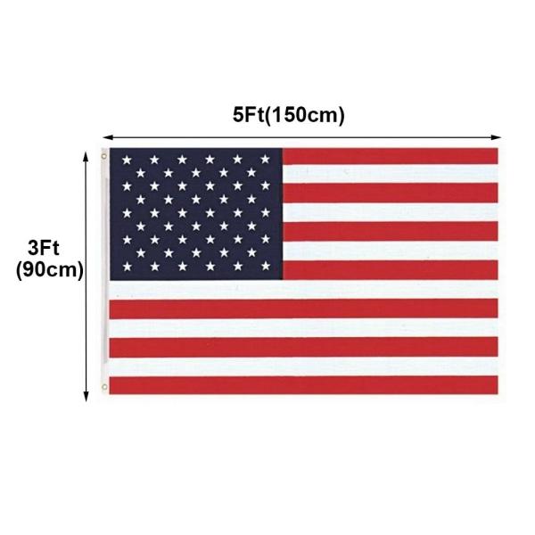 3x5 fot Amerikanska flaggan USA-flaggor självständighetsdagen broderad