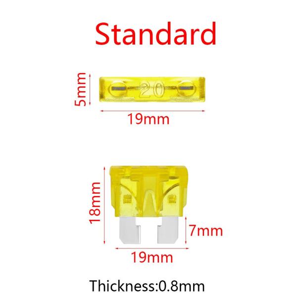 10st Bladsäkringar Medium Standard Sortiment Kit 20A