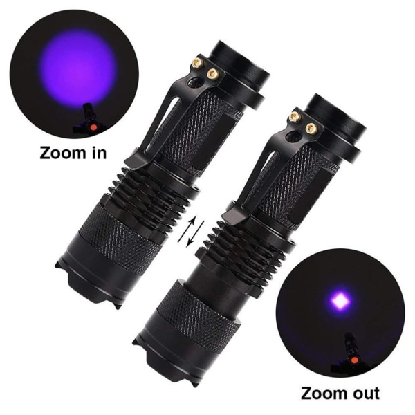 UV-ficklampa Zoombar ficklampa Ultraviolett svart ljus
